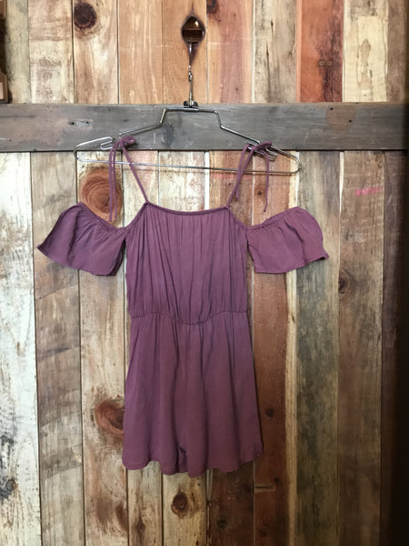 Mauve Off Shoulder Romper