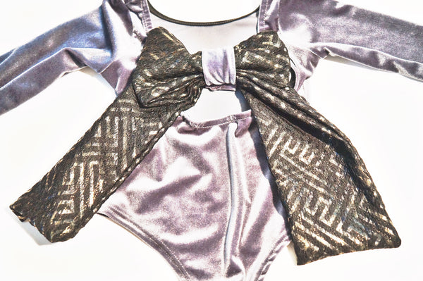 Slay Gray Velvet Bodysuit Top With Big Bow Detail