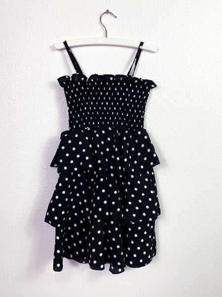 Claire Polka Dot Black & White Tiered Dress