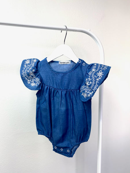 Zars Floral Embroidered Chambray Romper