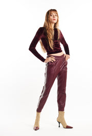 Burgundy Slim Fit Athletic Leather Joggers