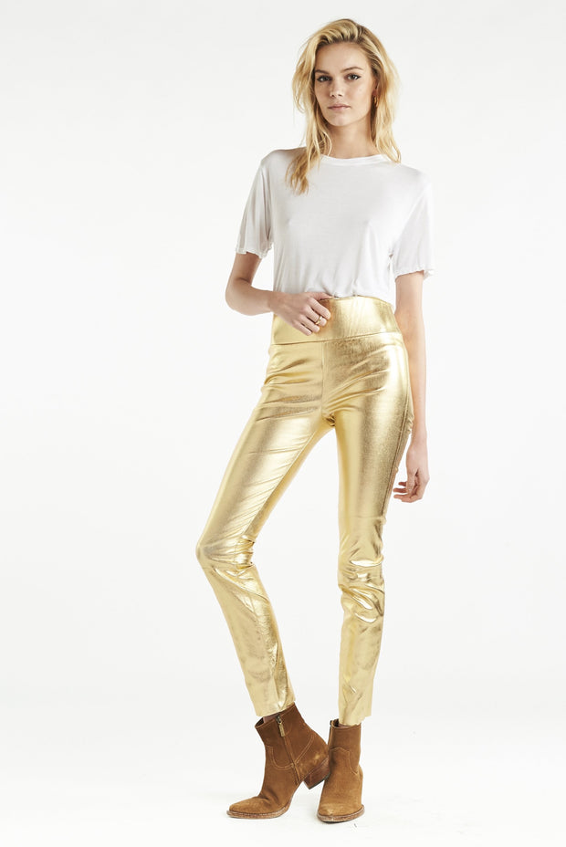 Gold Ankle Leather Legging