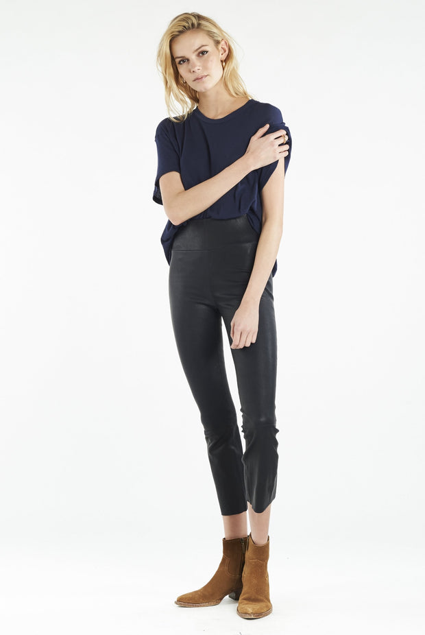 Navy Crop Flare Leather Legging