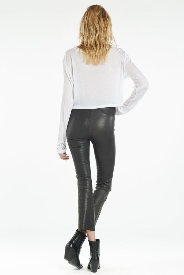 Anthracite Crop Flare Leather Pant