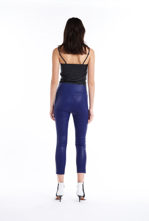 Electric Blue Athletic Capri Leather Leggings