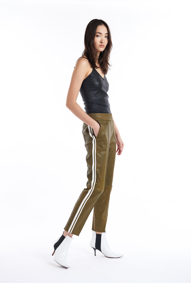 Olive Athletic Slim Fit Leather Joggers