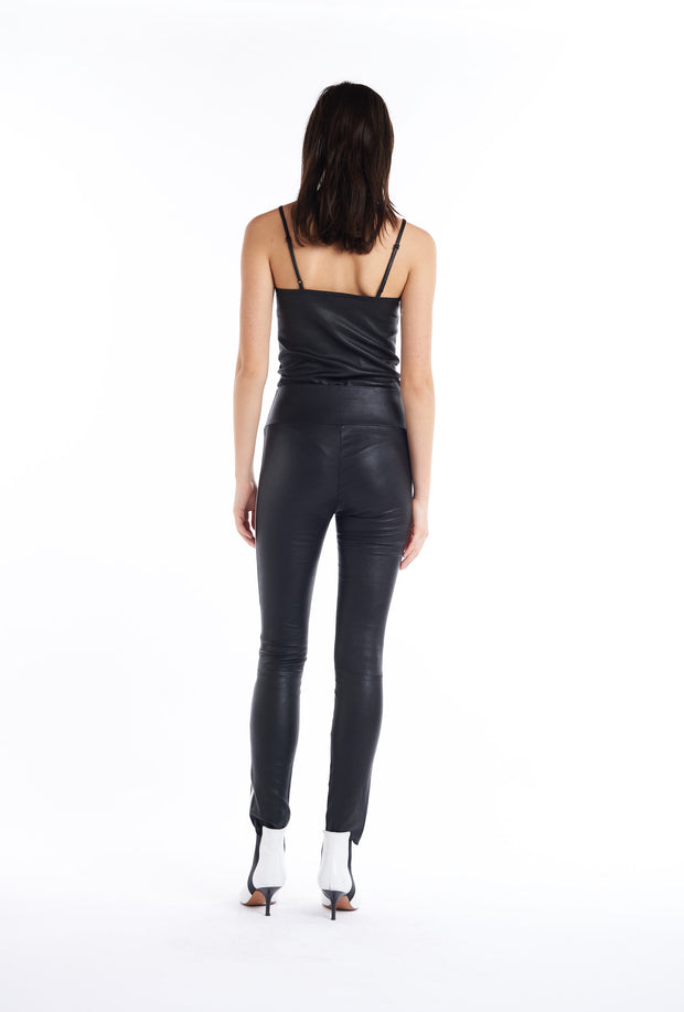 Black, with White Stripe Athletic Ankle Leather Leggings, Back