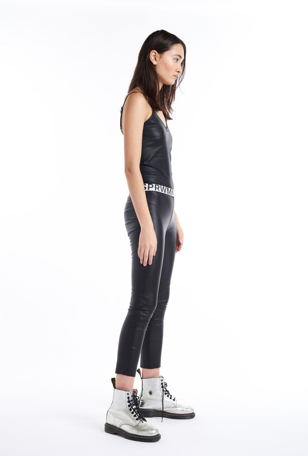 Black Logo Elastic Capri Leggings