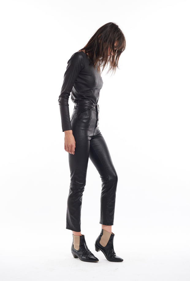 Black 5 Pocket Leather Pants