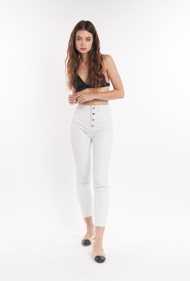 White 5 Pocket Leather Pants
