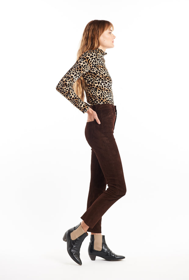 Chocolate 5 Pocket Suede Ankle Pant