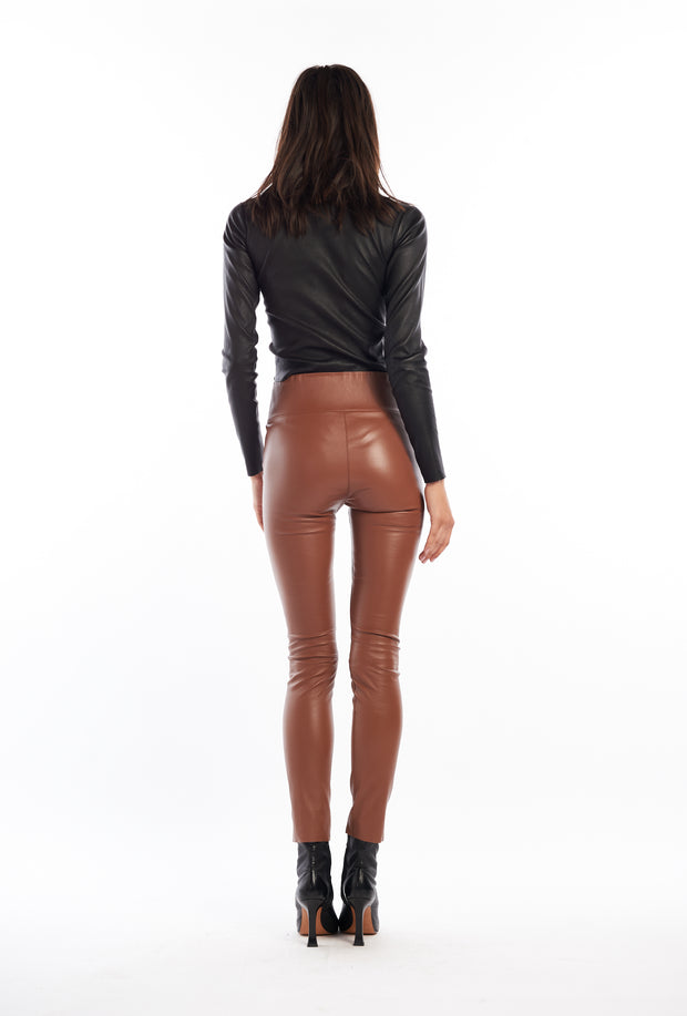 Hazelnut Ankle Leather Leggings