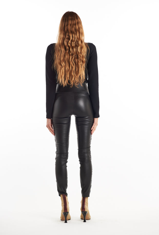 Black Eyelet Lace-Up Ankle Leather Leggings