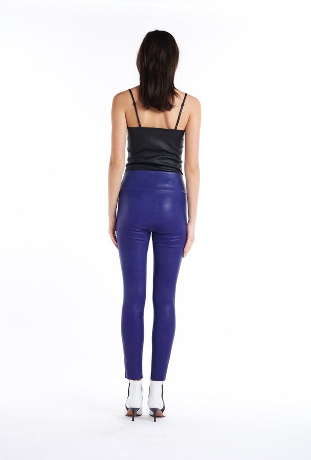 Electric Blue Leather Ankle Legging
