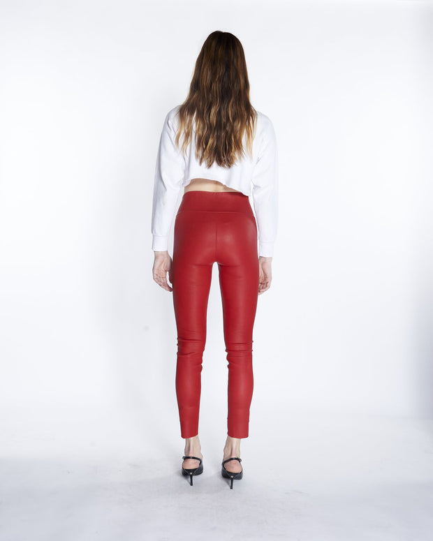 Red/White Athletic Ankle Leather Leggings