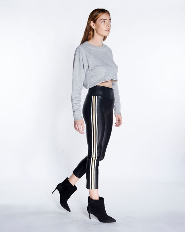 Athletic 3 Stripe Capri Leather Legging with Black-Gold, Side