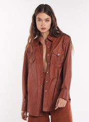 Cognac Leather Button Down Shirt