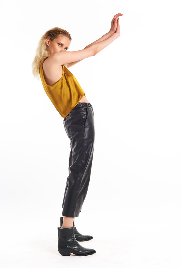 Black Leather Easy Pant