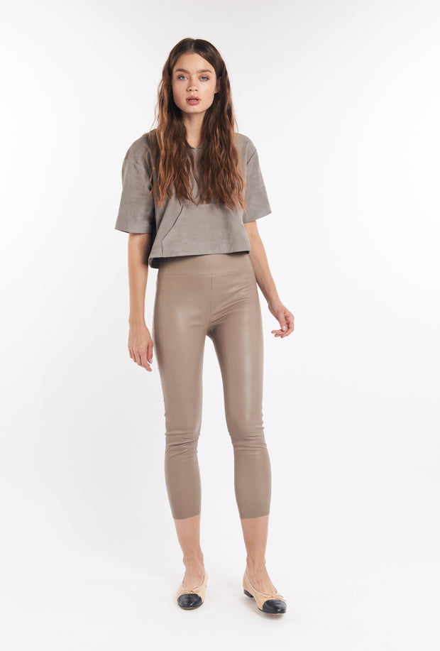 Taupe Capri Leather Leggings