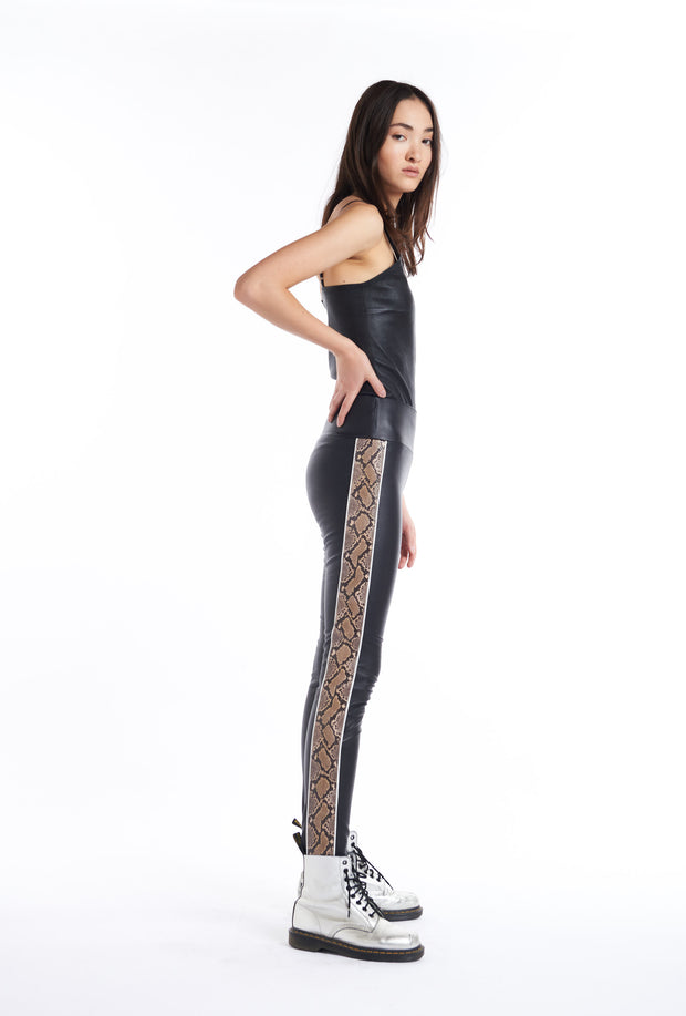 Black, Tan Snake Stripe Capri Legging SPRWMN, Side