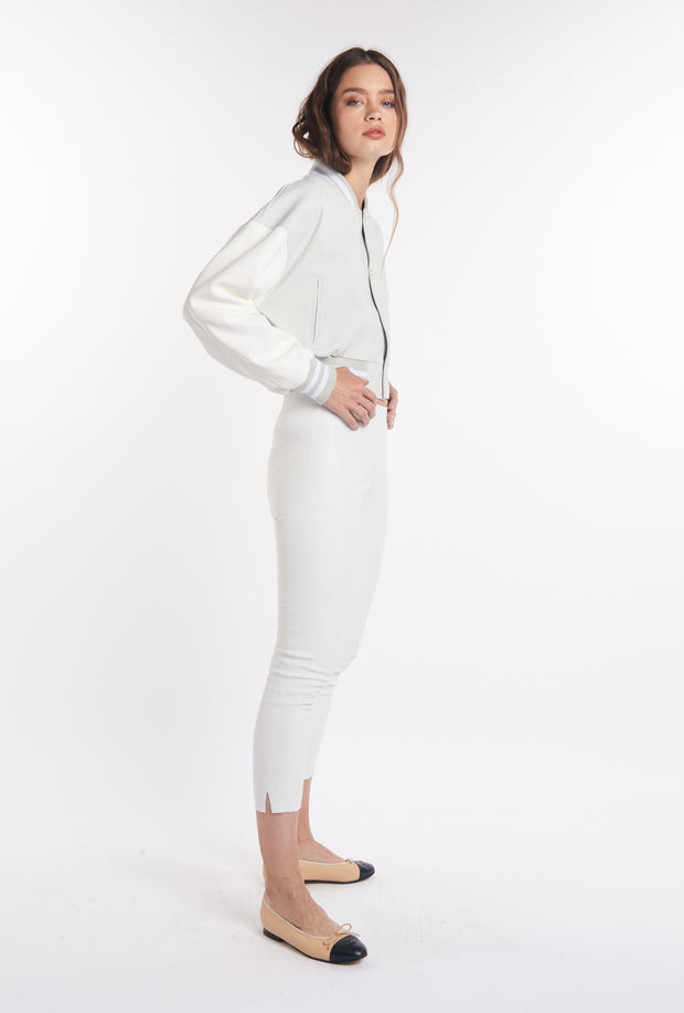 White Mid-Rise Capri Leggings