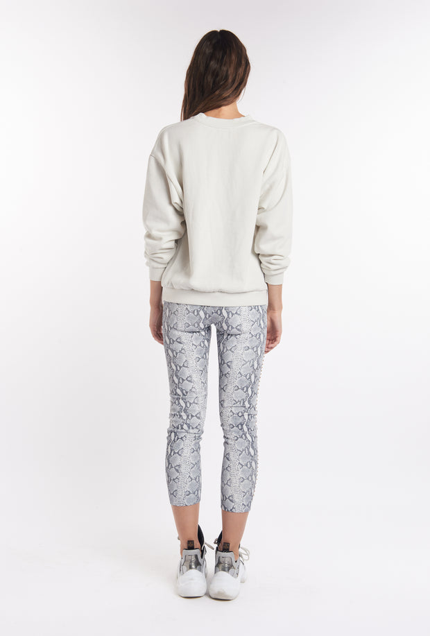 Grey Snake Print Capri Leather Leggings