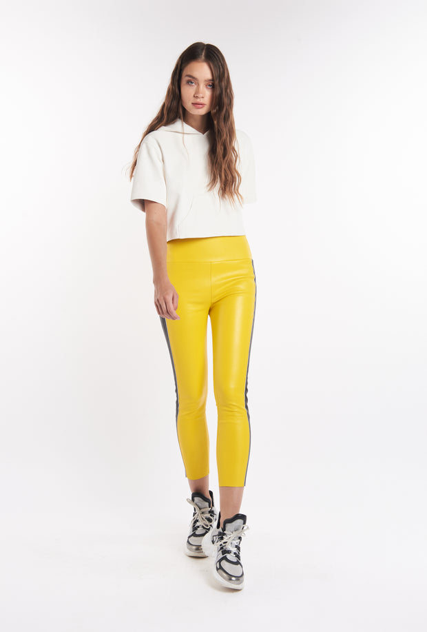 Lemon Tuxedo Stripe Capri Leather Leggings