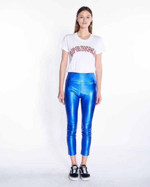 Leather Capri Legging in Blue Metallic, Front