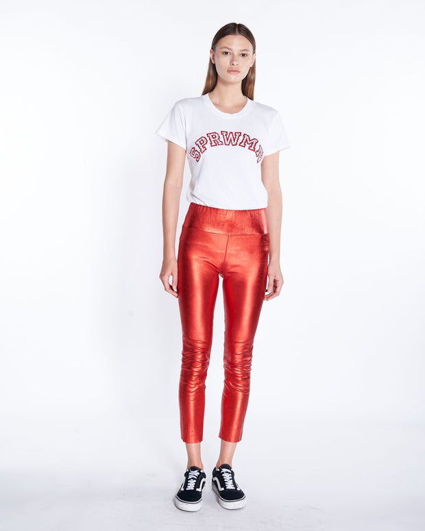 Capri Leather Legging in Metallic Red , Front