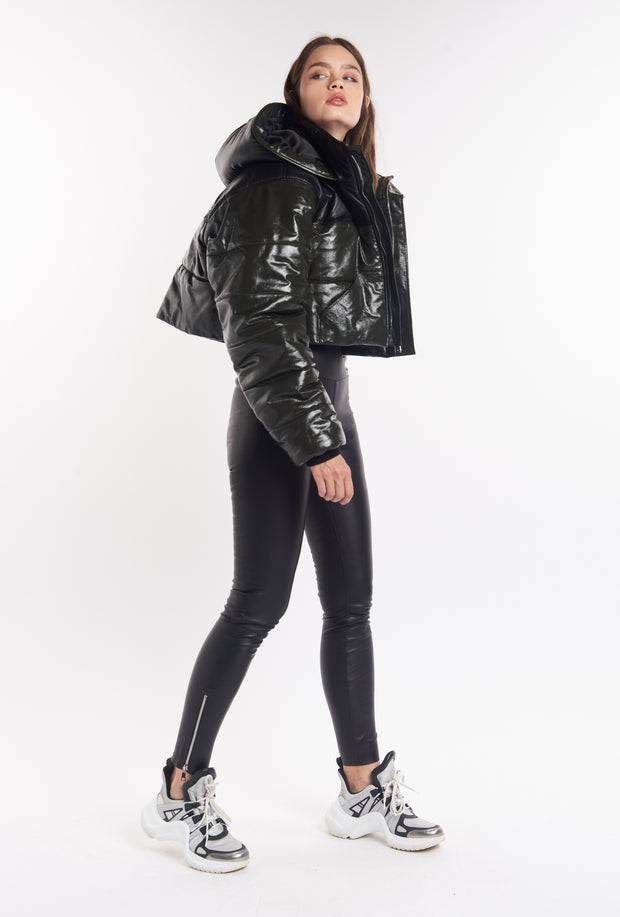 Patent Army & Black Leather Combo Puffer Jacket