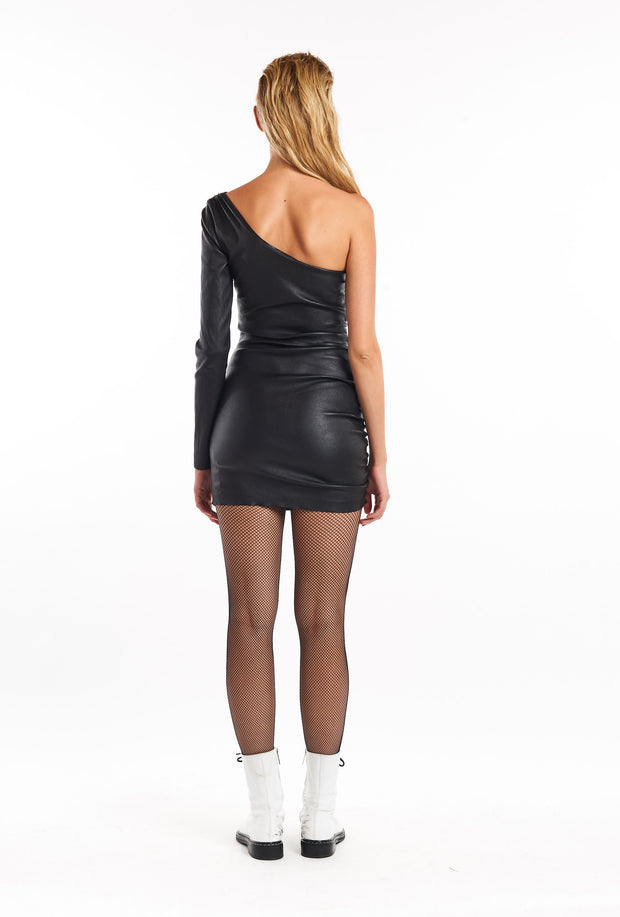 Black One Shoulder Shirred Leather Dress