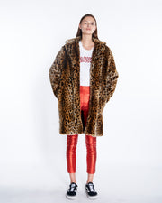 Faux Fur Long Coat in Leopard, Front