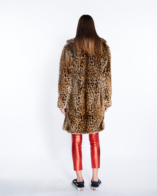 Faux Fur Long Coat in Leopard, Back