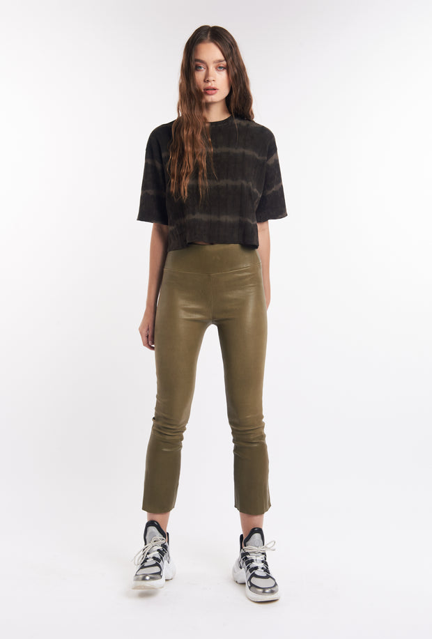 Olive Crop Flare Leather Pant