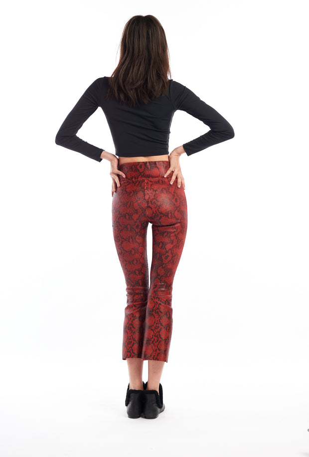 Blood Red Snake Print Crop Flare Leather Pant
