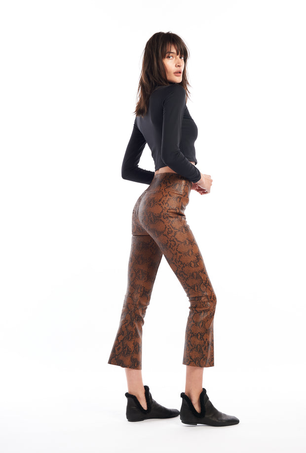 Hazelnut Snake Print Crop Flare Leather Pant