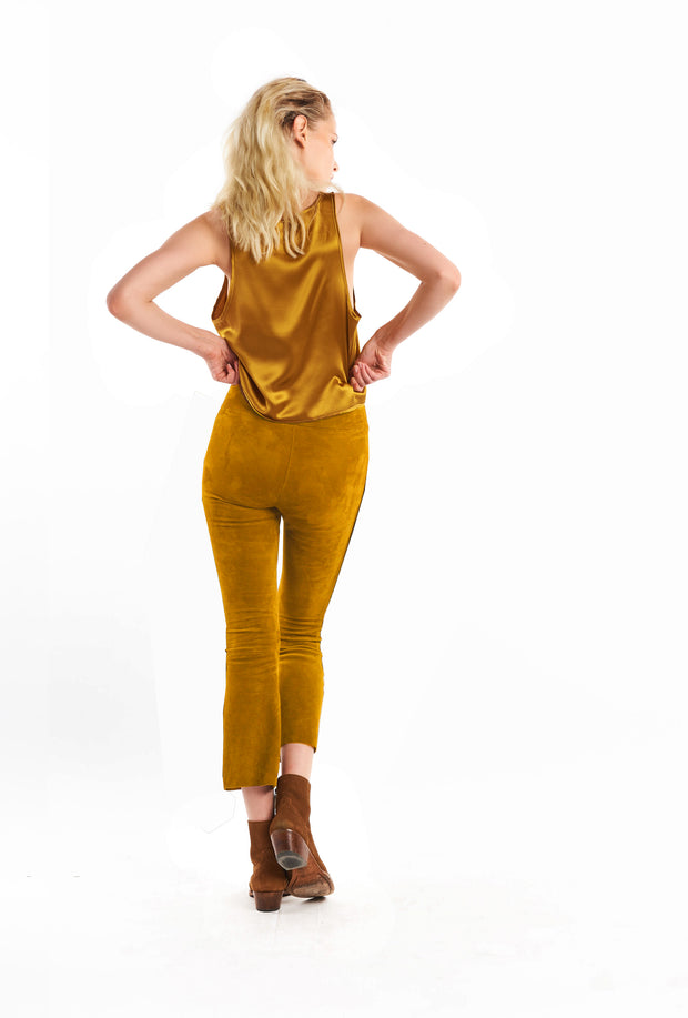 Curry Suede Crop Flare Legging