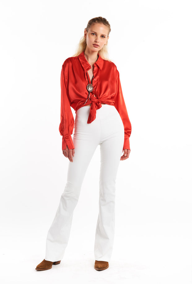 White Super Flare Leather Pant