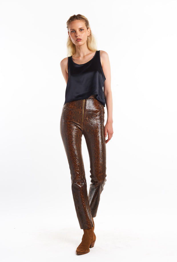 Brown Snake Embossed Flare Pants