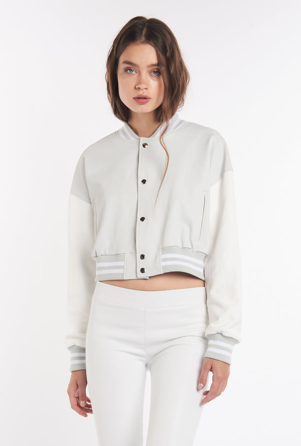 Cloud/White Varsity Leather Jacket