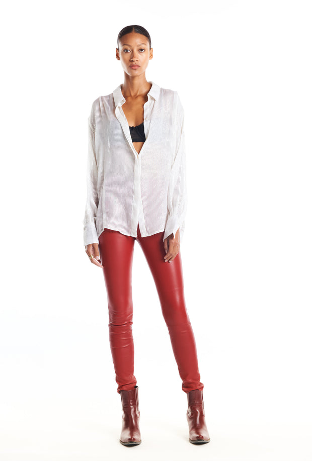 Blood Red Leather Ankle Legging