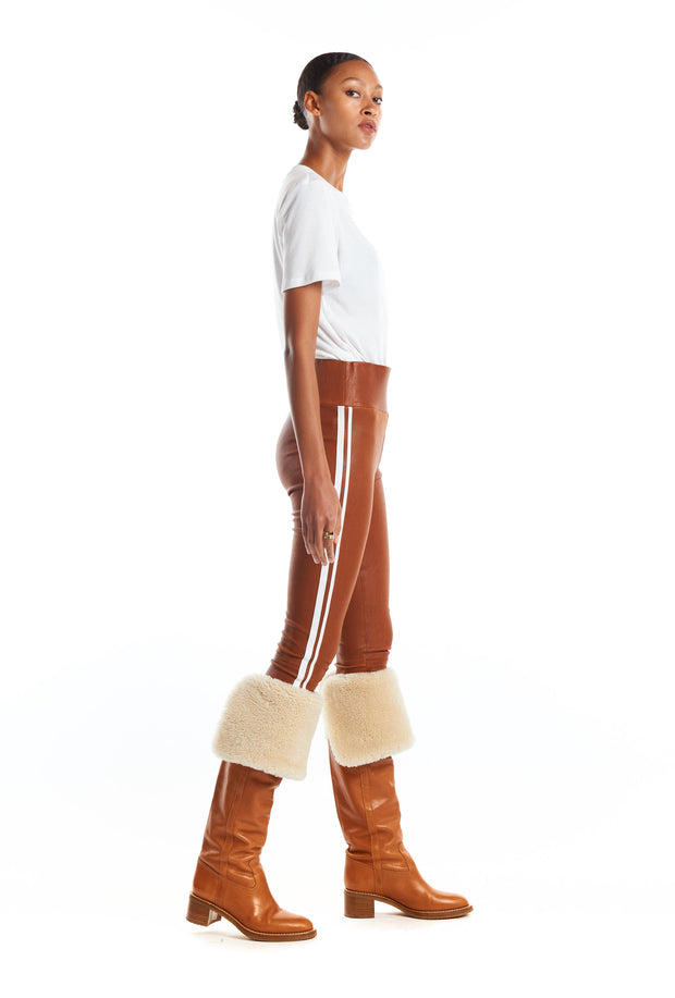 Cognac/White Athletic Capri Leather Leggings