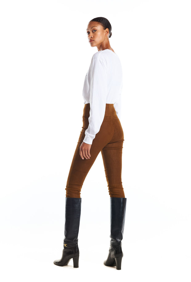 Coated Cognac Suede Ankle Legging