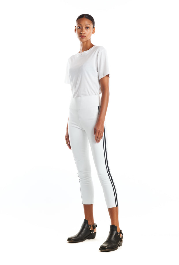 White/Black Athletic Capri Leather Leggings