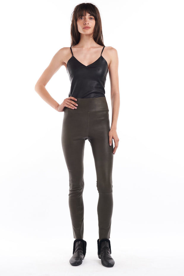 Army Ankle Leather Leggings