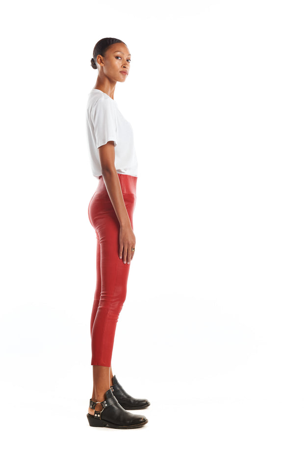 Red Capri Leather Leggings