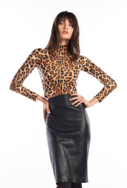 Leopard Mock Neck Long Sleeve Crop