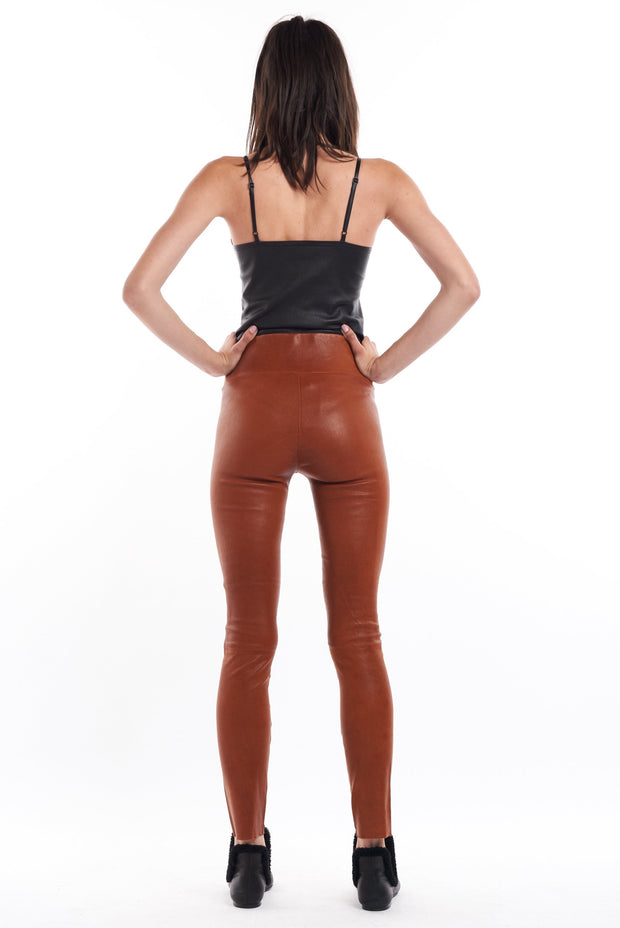 Cognac Leather Ankle Legging