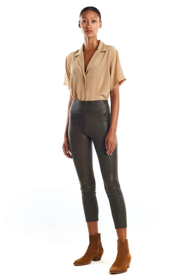 Army Capri Leather Leggings