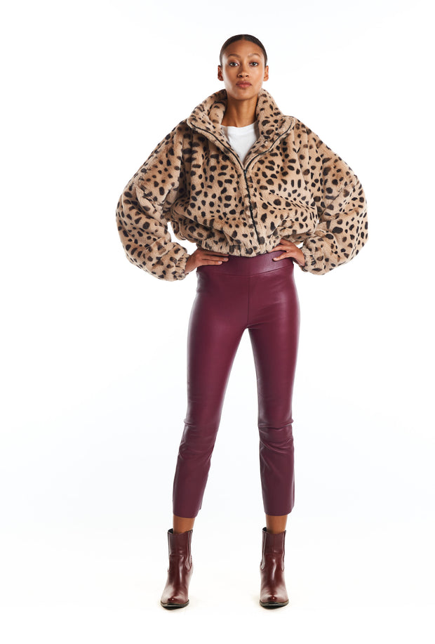 Cream Leopard Faux Fur Crop Jacket
